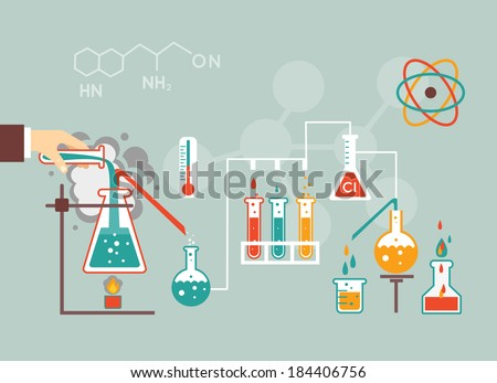 Chemistry infographic vector illustration, infographics template for medical research documents and reports - stock vector