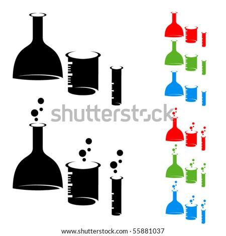 Chemistry laboratory flasks symbols. Colored vector set. - stock vector