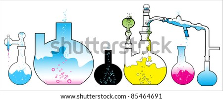 chemistry laboratory test tubes during the experiment - stock vector