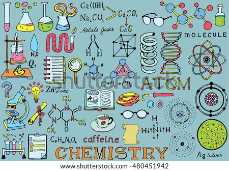Chemistry Science Doodle Hand Drawing isolated Elements. Science and School Education theme.