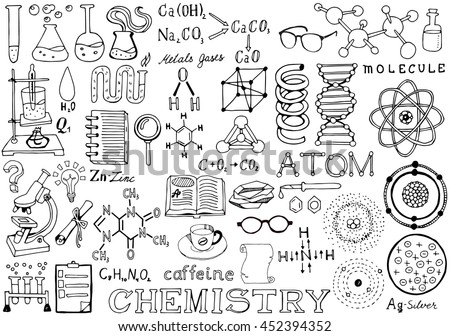 Chemistry Science Doodle Handwriting Elements. Science and School Education theme. - stock vector