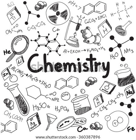 Chemistry science theory and bonding formula equation, doodle handwriting and tool model icon in white isolated background paper used for school education and document decoration, create by vector - stock vector