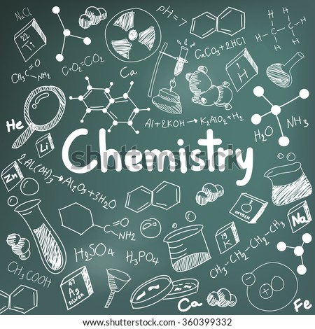 Chemistry science theory and bonding formula equation, doodle handwriting and tool model icon in blackboard background paper used for school education and document decoration, create by vector  - stock vector
