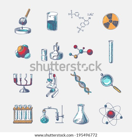 Chemistry scientific dna molecule research equipment glass tube holder and burner doodle sketch icons set vector illustration - stock vector
