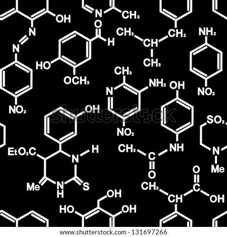 Chemistry seamless background for wallpaper or science design. Vector illustration - stock vector