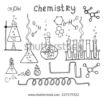 chemistry set, hand drawn vector illustration. Education icons - stock vector