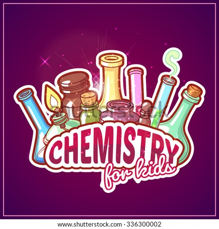 Chemistry title with chemical flasks on a dark background for poster design. Vector clip-art illustration - stock vector