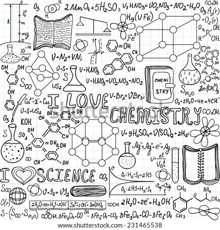 Chemistry vector seamless pattern formulas calculations stock vector chemistry vector seamless pattern with formulas calculations and laboratory equipment i love chemistry ccuart Images
