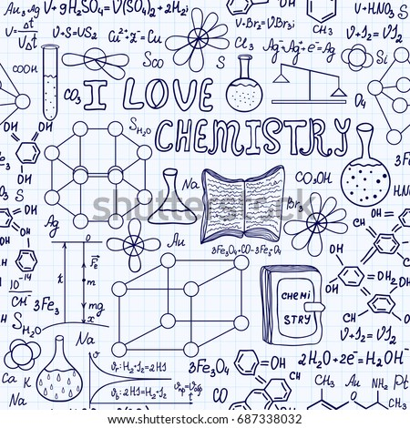 Chemistry vector seamless pattern handwritten words stock vector chemistry vector seamless pattern with handwritten words i love chemistry many chemical formulas ccuart Images