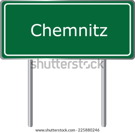 Chemnitz , Germany , road sign green vector illustration, road table - stock vector