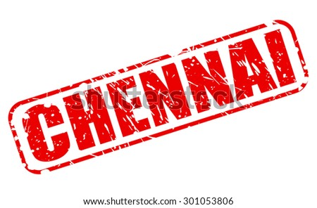 Chennai red stamp text on white - stock vector