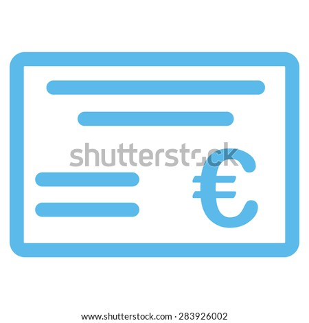 Cheque from BiColor Euro Banking Icon Set. Vector style: flat, blue symbol, rounded angles, white background. - stock vector