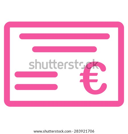 Cheque from BiColor Euro Banking Icon Set. Vector style: flat, pink symbol, rounded angles, white background. - stock vector