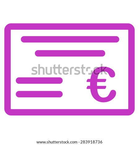 Cheque from BiColor Euro Banking Icon Set. Vector style: flat, violet symbol, rounded angles, white background. - stock vector