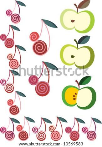 cherry / apple - stock vector