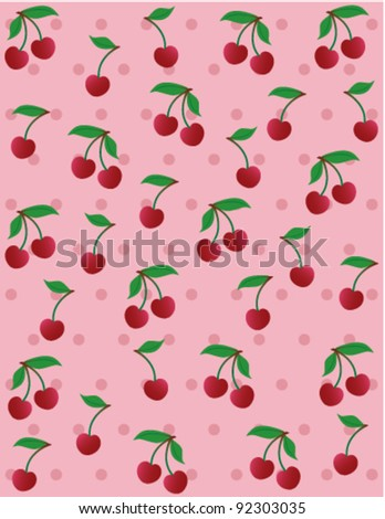 Cherry background, vector - stock vector