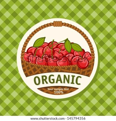 cherry basket - stock vector