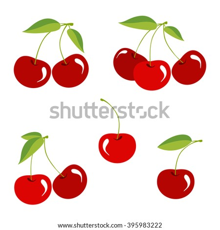 Cherry berry with leaves. Collection of different fresh cherry berry.