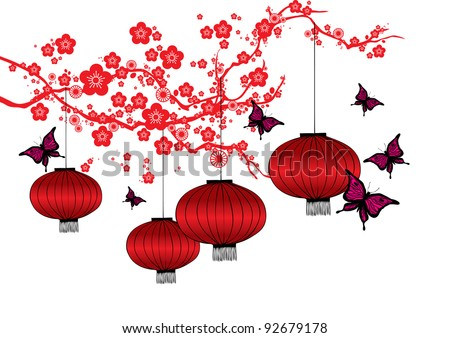 cherry blossom and red lanterns vector/illustration - stock vector
