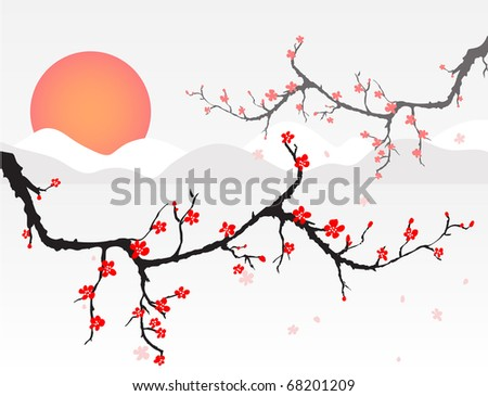 cherry blossom at sunset - stock vector