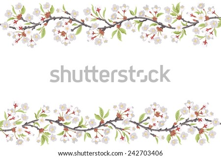 Cherry Blossom Branch frame - stock vector
