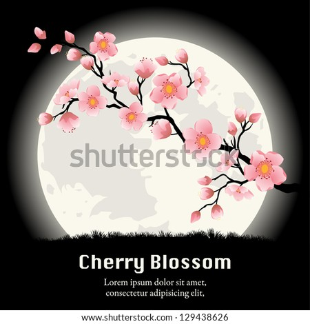 Cherry Blossom branch in front of the full Moon. Vector - stock vector
