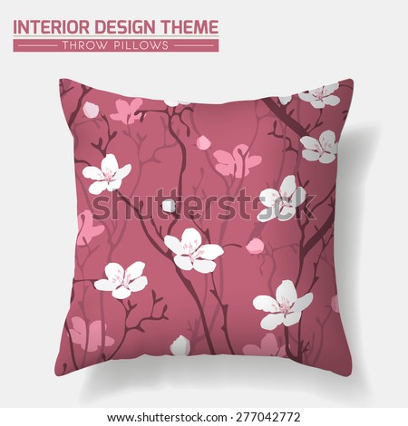 Cherry Blossom Decorative Throw Pillow design template. Creative sofa cushion. Original floral seamless pattern is complete, masked. Modern interior design element. Vector design is layered editable. - stock vector