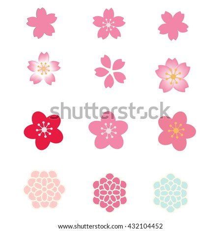 Cherry blossom icon set. Flowers vector set.
