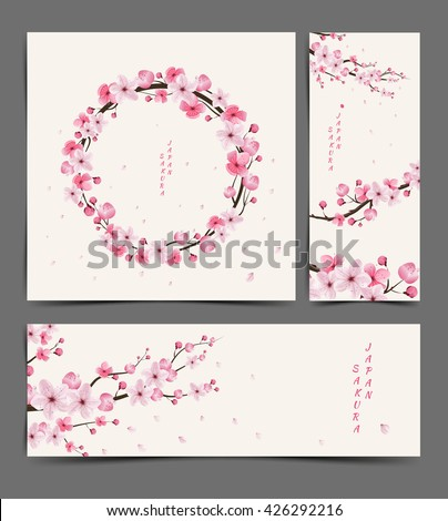 cherry blossom realistic vector, Illustration,  Layout, card,  template, sakura, japan