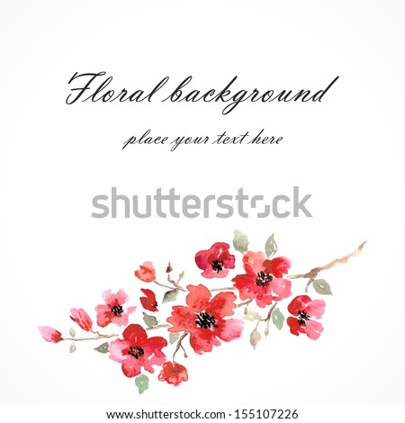 Cherry blossom. Sakura flowers. Floral background. Branch with pink flowers. Birthday card. - stock vector