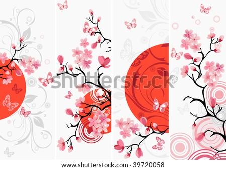Cherry blossom set - stock vector