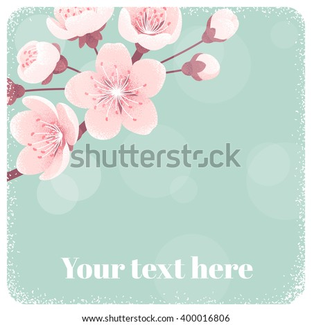 Cherry blossom template, spring flowers. Retro vector illustration. Place for your text. Design for invitation, banner, card, poster, flyer