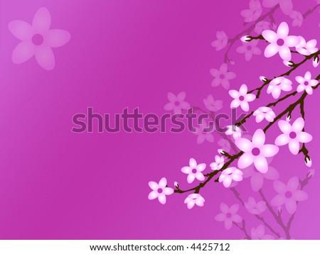 Cherry Blossom Vector Background - stock vector