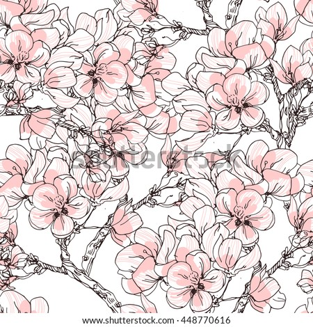 Cherry blossom vector background. Seamless flowers pattern. - stock vector