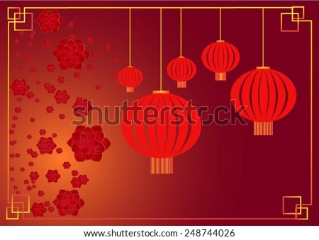 Cherry blossom with chinese lantern chinese lunar new year template vector
