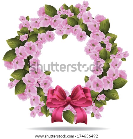 Cherry Blossom Wreath isolated on white background EPS 10 vector, grouped for easy editing. No open shapes or paths. - stock vector
