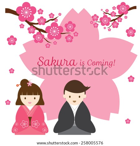 Cherry Blossoms or Sakura flowers with Japanese Couple - stock vector