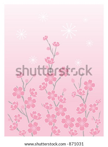 Cherry Blossoms Vector - Vertical with Graduated Background - stock vector