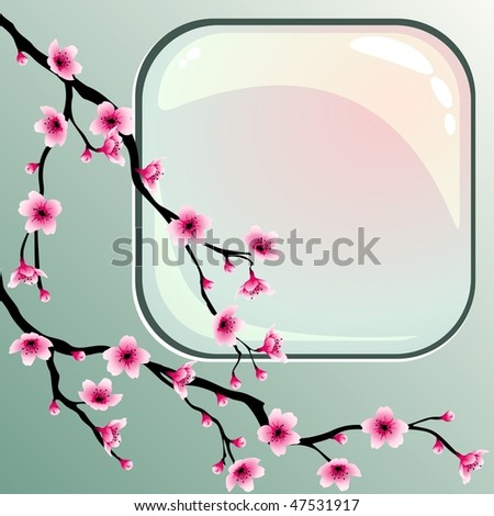 Cherry blossoms with square button (EPS10); JPG version also available