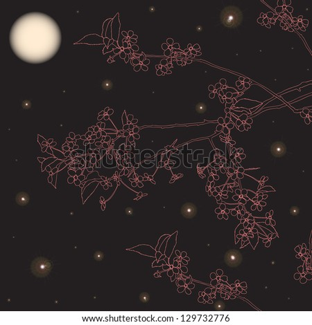 Cherry branches in the moonlight night - stock vector