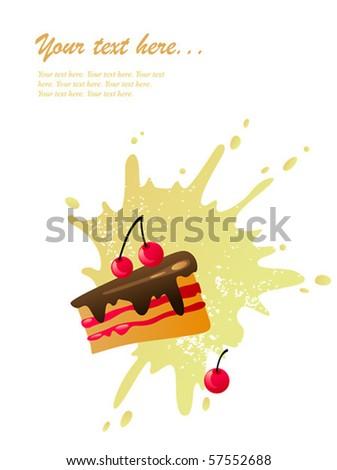 Cherry cake - stock vector