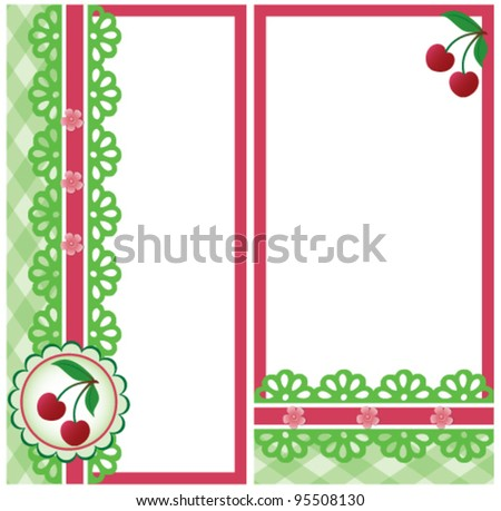 Cherry cards, vector - stock vector