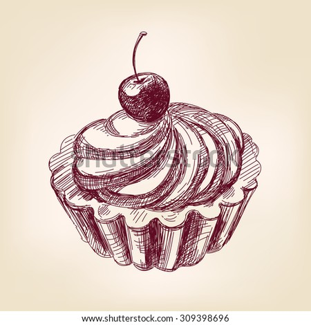 Cherry cupcake hand drawn vector llustration realistic sketch - stock vector