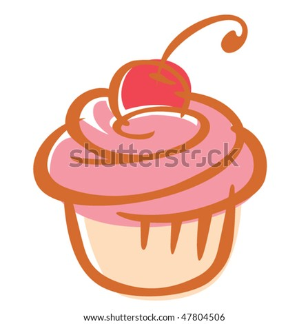 Cherry cupcake vector illustration - stock vector