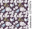 cherry flower seamless background - stock vector