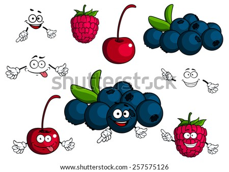 Cherry, raspberry, blueberries cartoon characters showing smiling luscious blue and red berries with green leaves and stalks for healthy dessert concept or food pack design - stock vector
