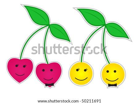 Cherry smileys love concepts - stock vector