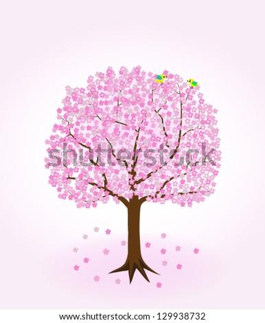 Cherry Tree with two birds. - stock vector