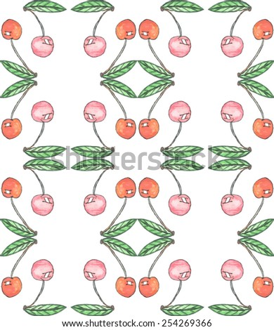 Cherry  watercolor seamless pattern vector. Hand drawn texture. Background for save the date cards, web pages, invitations. - stock vector