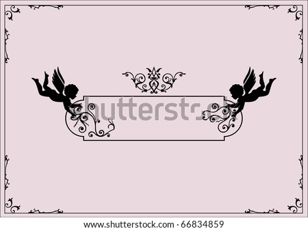 cherubs and scrolls design elements - stock vector